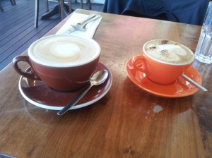 "Confused coffee. What happens when you ask for a regular latte in Christchurch. The brown bucket is ""regular"" size"